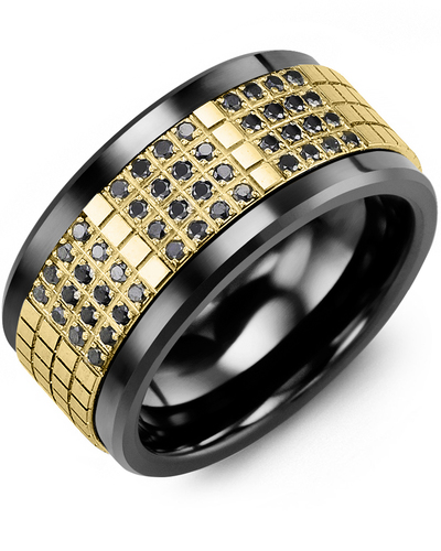 Men's & Women's Black Ceramic & Yellow Gold + 48 Black Diamonds 0.48ct Wedding Band