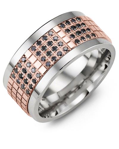 Men's & Women's Tungsten & Rose Gold + 48 Black Diamonds 0.48ct Wedding Band