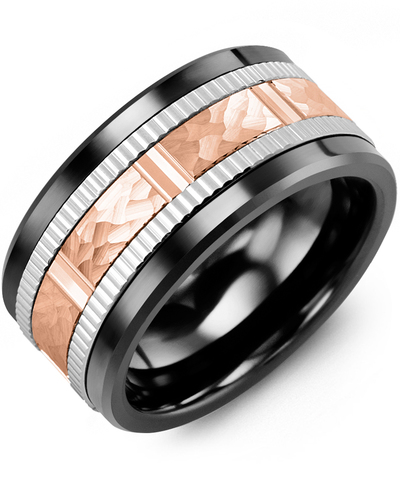 Men's & Women's Black Ceramic & White/Rose Gold Wedding Band