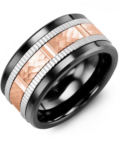 Men's & Women's Black Ceramic & White/Rose Gold Wedding Band