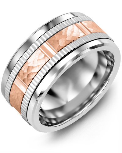 Men's & Women's Cobalt & White/Rose Gold Wedding Band
