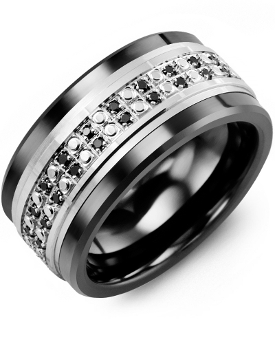 Men's & Women's Black Ceramic & White Gold + 50 Black Diamonds 0.50ct Wedding Band from MADANI Rings. Wedding bands, fashion rings, promise rings, made of Tungsten, Ceramic, Cobalt, and Gold. View the collection at madanirings.com