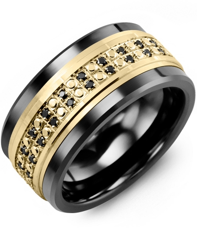 Men's & Women's Black Ceramic & Yellow Gold + 50 Black Diamonds tcw 0.50 Wedding Band 10K 10mm