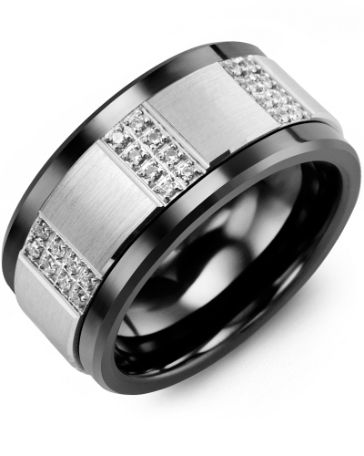 Men's & Women's Black Ceramic & White Gold + 24 Diamonds tcw. 0.24 Wedding Band