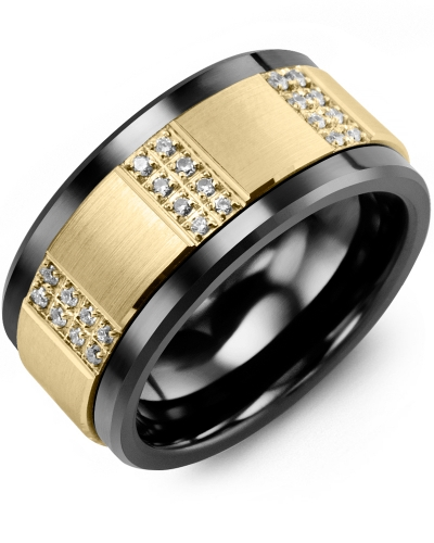 Men's & Women's Black Ceramic & Yellow Gold + 24 Diamonds tcw. 0.24 Wedding Band 10K 11mm