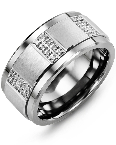 Men's & Women's Tungsten & White Gold + 24 Diamonds 0.24ct Wedding Band