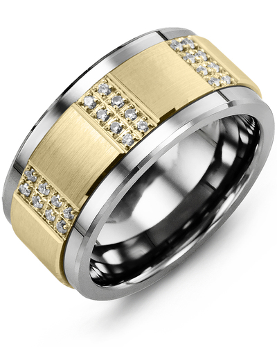 Men's & Women's Tungsten & Yellow Gold + 24 Diamonds 0.24ct Wedding Band