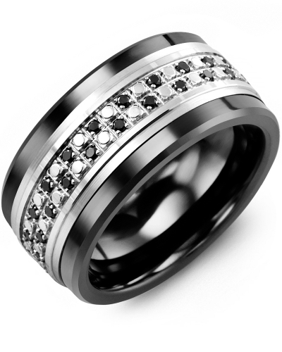 Men's & Women's Black Ceramic & White Gold + 44 Black Diamonds tcw 0.44 Wedding Band 10K 10mm