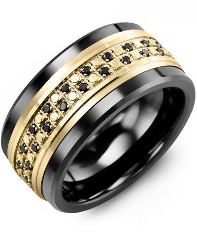 Men's & Women's Black Ceramic & Yellow Gold + 44 Black Diamonds tcw 0.44 Wedding Band 10K 10mm