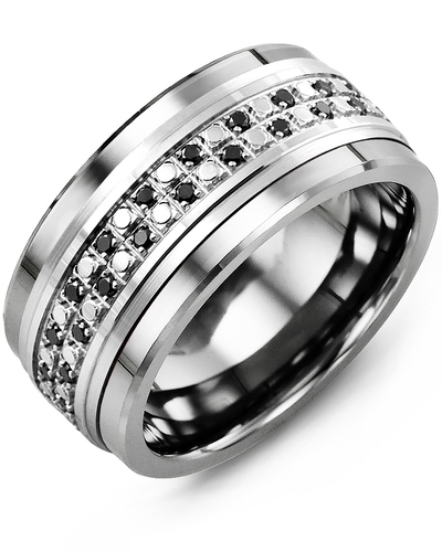Men's & Women's Cobalt & White Gold + 44 Black Diamonds 0.44ct Wedding Band