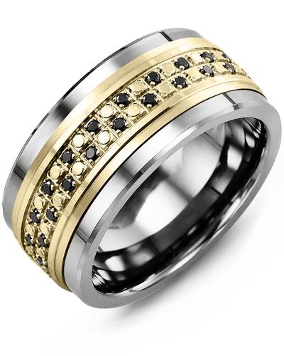 Men's & Women's Cobalt & Yellow Gold + 44 Black Diamonds 0.44ct Wedding Band