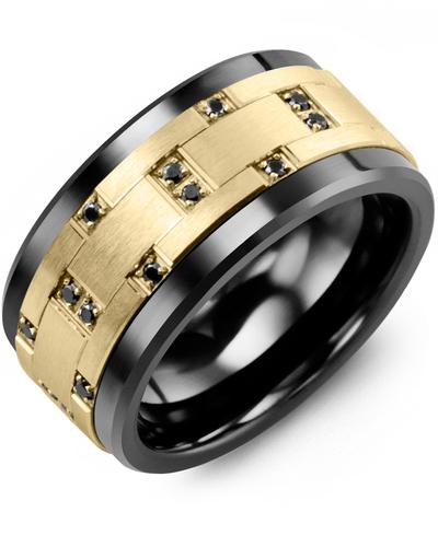 Men's & Women's Black Ceramic & Yellow Gold + 14 Black Diamonds 0.14ct Wedding Band