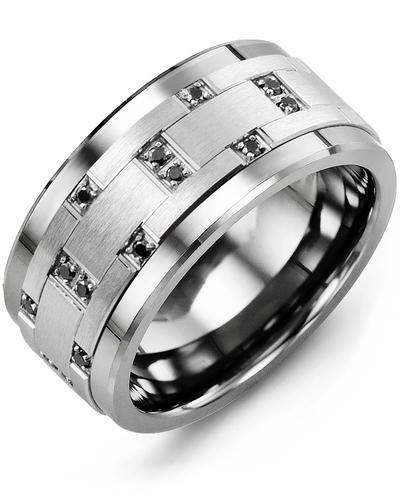 Men's & Women's Tungsten & White Gold + 14 Black Diamonds 0.14ct Wedding Band