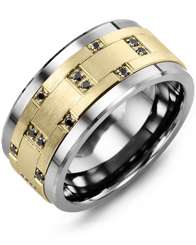 Men's & Women's Tungsten & Yellow Gold + 14 Black Diamonds 0.14ct Wedding Band