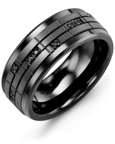 Men's & Women's Black Ceramic & Black Gold + 14 Black Diamonds 0.14ct Wedding Band