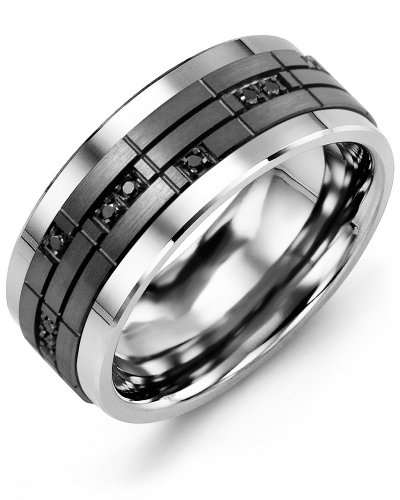 Men's & Women's Cobalt & Black Gold + 14 Black Diamonds tcw. 0.14 Wedding Band 10K 7mm