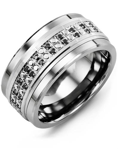 Men's & Women's Tungsten & White Gold + 50 Black Diamonds 0.50ct Wedding Band