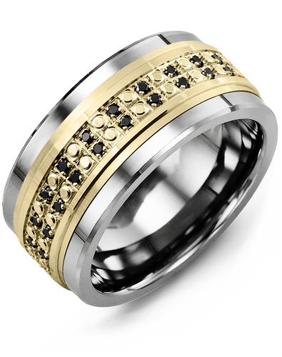 Men's & Women's Tungsten & Yellow Gold + 50 Black Diamonds 0.50ct Wedding Band