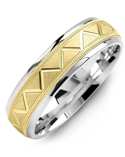 Men's & Women's White Gold & Yellow Gold Wedding Band 10K 9mm