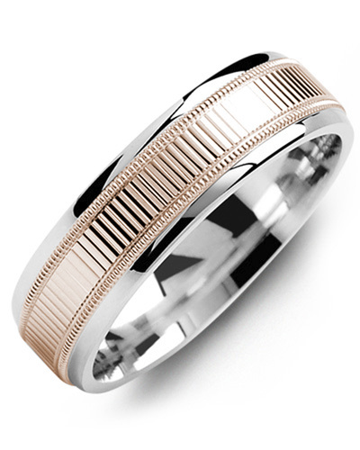 Men's & Women's White Gold & Rose Gold Wedding Band from MADANI Rings. Wedding bands, fashion rings, promise rings, made of Tungsten, Ceramic, Cobalt, and Gold. View the collection at madanirings.com