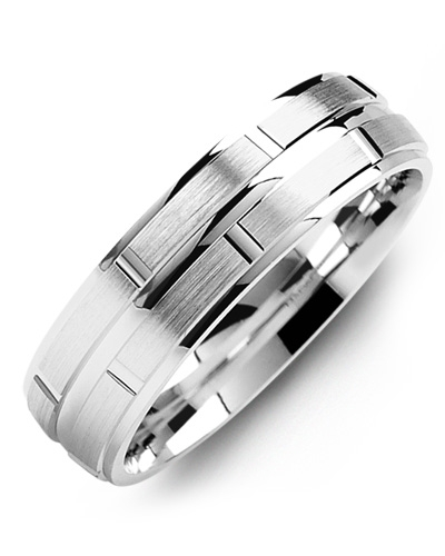 Men's & Women's White Gold Wedding Band 18K 6mm