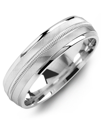 Men's & Women's White Gold & White Gold Wedding Band 10K 9mm