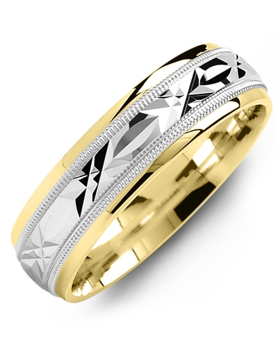 Men's & Women's Yellow Gold & White Gold Wedding Band 10K 5mm