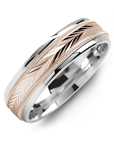 Men's & Women's White Gold & Rose Gold Wedding Band