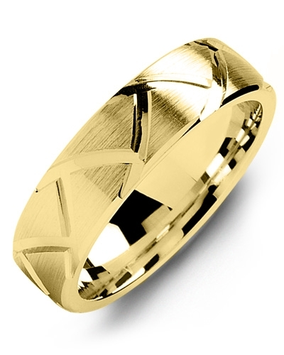Men's & Women's Yellow Gold Wedding Band from MADANI Rings. Wedding bands, fashion rings, promise rings, made of Tungsten, Ceramic, Cobalt, and Gold. View the collection at madanirings.com