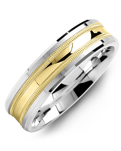 Men's & Women's White Gold & Yellow Gold Wedding Band from MADANI Rings. Wedding bands, fashion rings, promise rings, made of Tungsten, Ceramic, Cobalt, and Gold. View the collection at madanirings.com