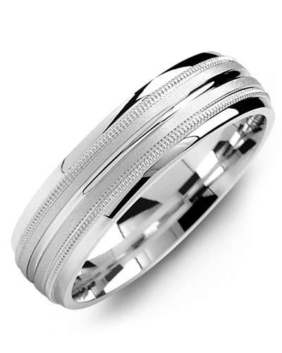 Men's & Women's White Gold & White Gold Wedding Band 10K 6mm