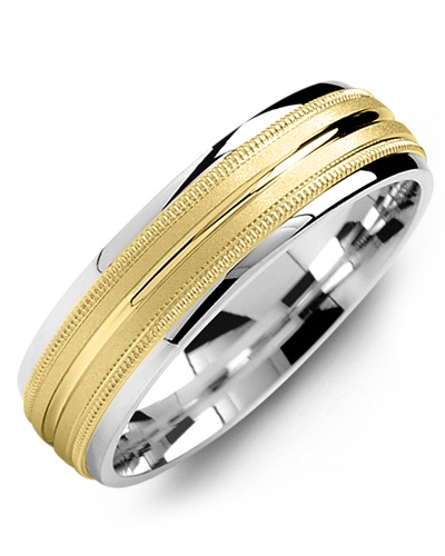 Men's & Women's White Gold & Yellow Gold Wedding Band 10K 6mm