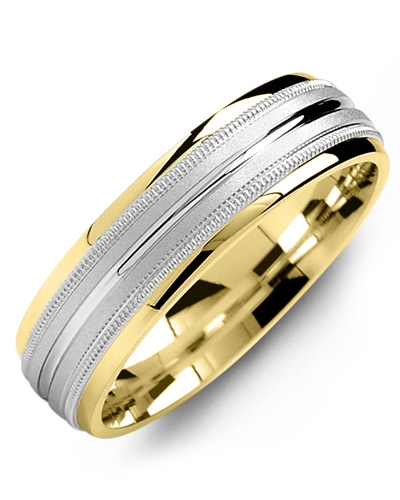 Men's & Women's Yellow Gold & White Gold Wedding Band 10K 6mm
