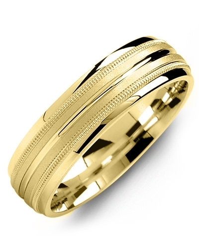 Men's & Women's Yellow Gold & Yellow Gold Wedding Band 18K 6mm
