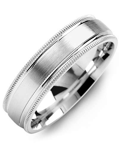 Wedding Bands Classic Bands Milgrain Bands Titanium Grooved and Beaded Edge 6mm Polished Band Size 9