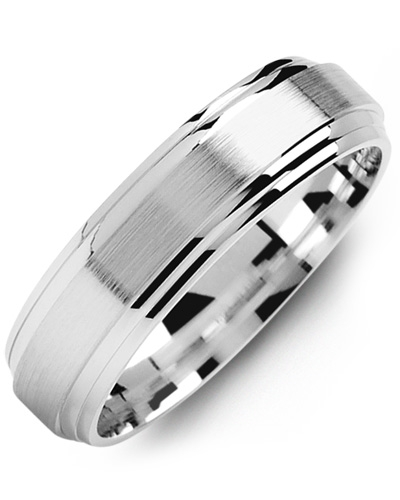 Men's & Women's White Gold Wedding Band 10K 10mm