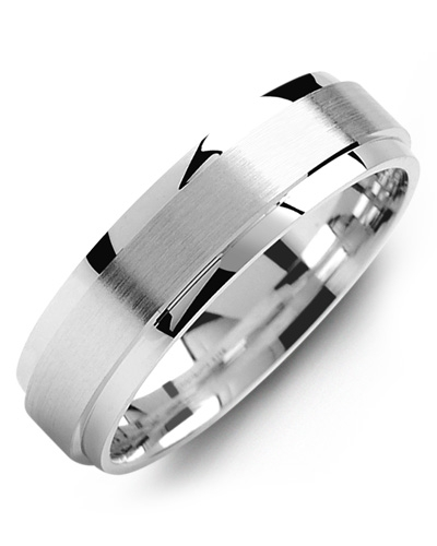 Men's & Women's White Gold & White Gold Wedding Band 10K 5mm