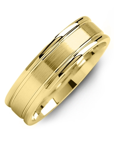 Men's & Women's Yellow Gold & Yellow Gold Wedding Band 18K 6mm