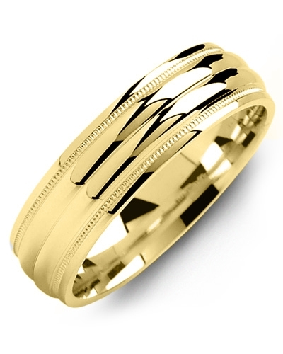 Men's & Women's Yellow Gold & Yellow Gold Wedding Band from MADANI Rings. Wedding bands, fashion rings, promise rings, made of Tungsten, Ceramic, Cobalt, and Gold. View the collection at madanirings.com