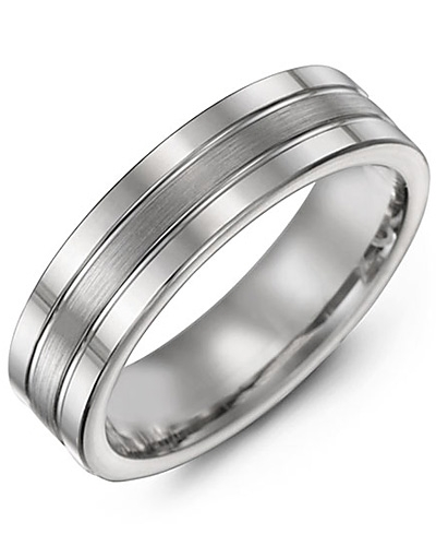 Men S Triple Band Effect Gold Wedding Ring