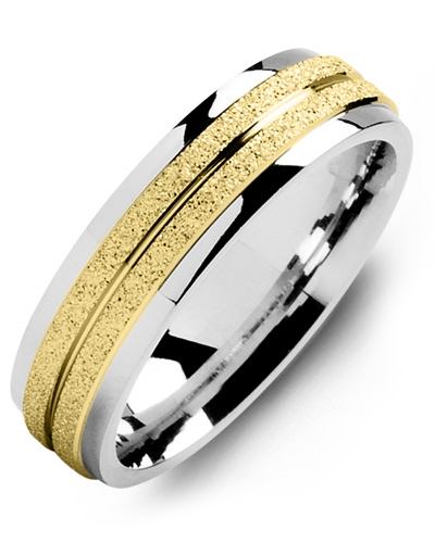 Men's & Women's White Gold & Yellow Gold Wedding Band 10K 6mm