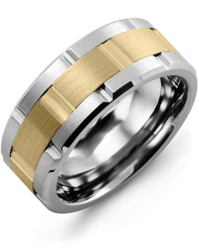 Men's & Women's Cobalt Brush Grooves & Yellow Gold Wedding Band 10K 9mm