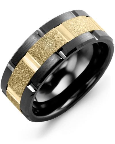 Men's & Women's Black Ceramic Brush Grooves & Yellow Gold Wedding Band 10K 9mm