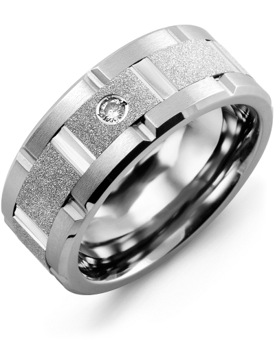 Men's & Women's Tungsten Brush Grooves & White Gold + 1 Diamond tcw 0.05 Wedding Band from MADANI Rings. Wedding bands, fashion rings, promise rings, made of Tungsten, Ceramic, Cobalt, and Gold. View the collection at madanirings.com