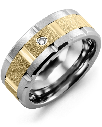 Men's & Women's Tungsten Brush Grooves & Yellow Gold + 1 Diamond 0.05ct Wedding Band