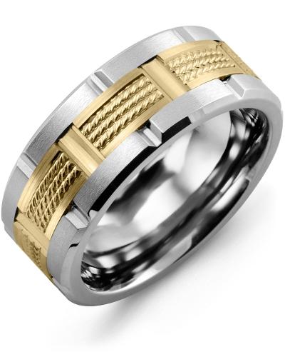 Men's & Women's Tungsten Brush Blades & Yellow Gold Wedding Band