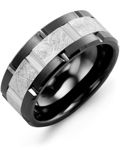 Men's & Women's Black Ceramic Brush Grooves & White Gold Wedding Band from MADANI Rings. Wedding bands, fashion rings, promise rings, made of Tungsten, Ceramic, Cobalt, and Gold. View the collection at madanirings.com