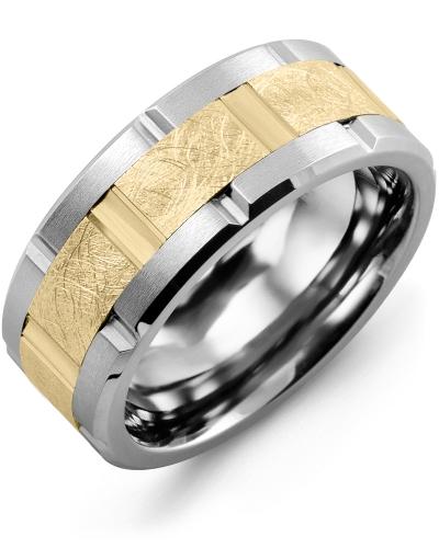 Men's & Women's Cobalt Brush Blades & Yellow Gold Wedding Band