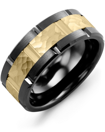 Men's & Women's Black Ceramic Brush Grooves & Yellow Gold Wedding Band from MADANI Rings. Wedding bands, fashion rings, promise rings, made of Tungsten, Ceramic, Cobalt, and Gold. View the collection at madanirings.com