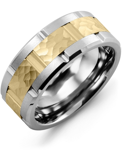 Men's & Women's Tungsten Brush Grooves & Yellow Gold Wedding Band